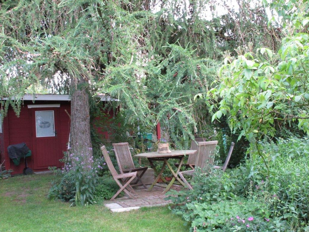 Baum mit Sitzgruppe und Schuppen im Hintergrund